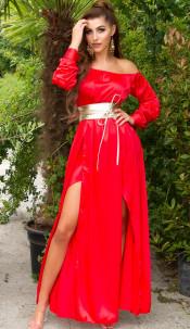 Sexy Koucla Satin-Look Maxidress Red