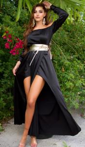 Sexy Koucla Satin-Look Maxidress Black