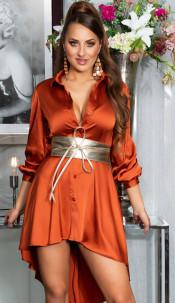 Sexy KouCla High-Low Seidenlook Kleid Bronze