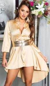 Sexy KouCla High-Low Seidenlook Kleid Gold