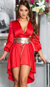 Sexy KouCla High-Low Seidenlook Kleid Red