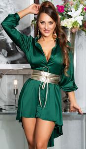 Sexy KouCla High-Low Seidenlook Kleid Green