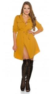 Sexy mini dress buttoned with belt Mustard