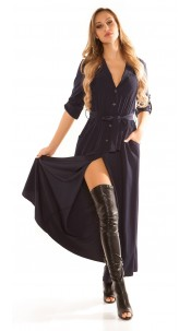 Sexy long blouse dress with button strip Navy