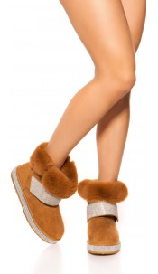Trendy winter ankle boots lined & rhinestone Camel