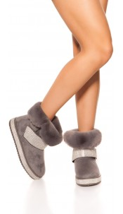 Trendy winter ankle boots lined & rhinestone Grey