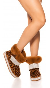 Trendy winter ankle boots lined & rhinestone Leo