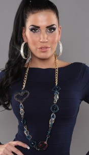 Trendy chain with pearls Blue