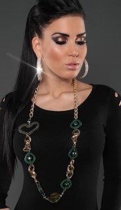 Trendy chain with pearls Green
