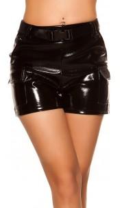 Sexy wetlook high waist shorts w. belt Black