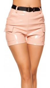 Sexy wetlook high waist shorts w. belt Pink