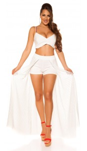 Sexy Shorts with long net skirt White