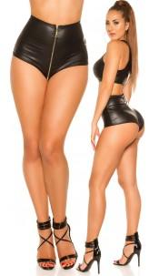 Sexy wetlook shorts met rits zwart