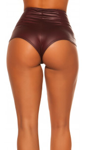 Sexy wetlook shorts met ritssluiting bordeaux