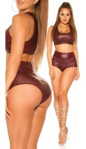 Sexy KouCla wetlook hot pants with zips Bordeaux