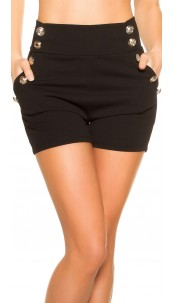 Sexy shorts in navy look with deco buttons Black