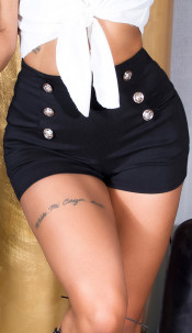 Sexy Highwaist Shorts with decorative buttons Black