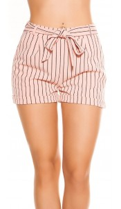 Sexy business look shorts striped with bow Pink