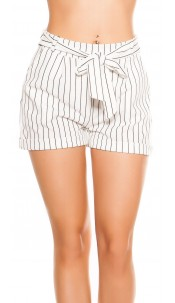 Sexy business look shorts striped with bow White