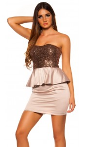 Sexy KouCla cocktail dress with sequin Cappuccino