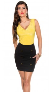 Sexy business dress with cowl-neck Yellow