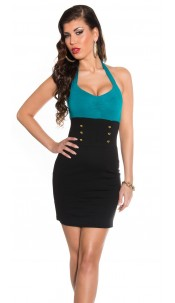 Sexy neck-minidress with buttons Sapphire