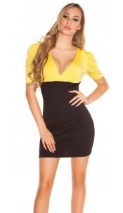 Sexy Minidress Bi-Coloured Yellowblack