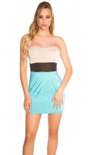 Sexy Bandeau mini dress ruffled Beigeturquoise