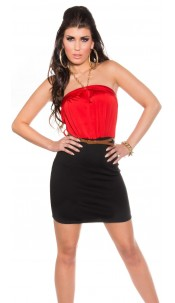 Sexy Neck-minidress with belt Redblack
