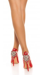 Sexy Lacquer High Heels With XXL Rhinestones Red
