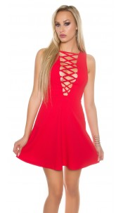Sexy KouCla minidress with front&back lacing Red