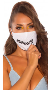 Trendy face mask with a zip print White