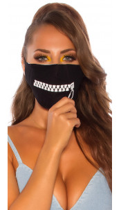 Trendy face mask with a zip print Black