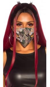 Trendy wasbaar gezicht mond masker met print rood