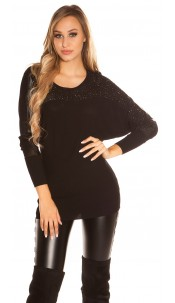 Sexy KouCla batwing pullover with leather look Black