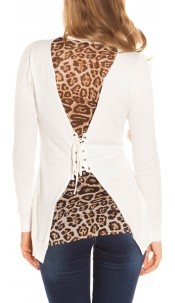 Sexy KouCla Cardigan with lacing on back White