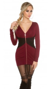 Sexy KouCla 2Way knitted dress with zip Bi-Color Bordeaux
