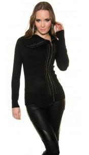 Trendy Koucla turtleneckpullover with blanks Black
