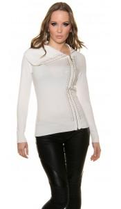 Trendy Koucla turtleneckpullover with blanks Cream