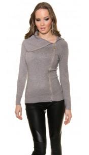 Trendy Koucla turtleneckpullover with blanks Grey