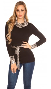 Trendy Koucla turtleneck pullover with a band Black