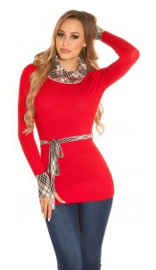 Trendy Koucla turtleneck pullover with a band Red