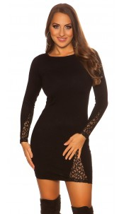 Sexy Koucla fine knitted dress with lace Black