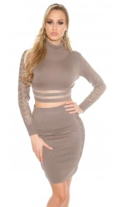 Sexy KouCla highwaist knit skirt with lace Cappuccino