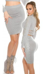 Sexy KouCla highwaist knit skirt with lace Grey