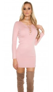 knit mini dress with lacing Antiquepink