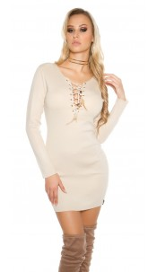 Knit mini dress with sexy decolletée Beige