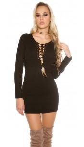Knit mini dress with sexy decolletée Black