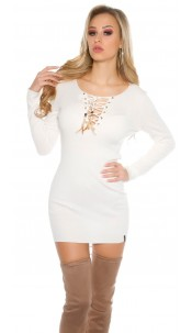 Knit mini dress with sexy decolletée White