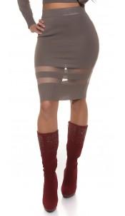 Sexy Koucla finednitted-highwaist-skirt,transpaten Cappuccino